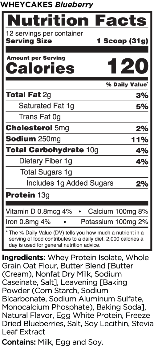 Nutrition Facts For Rule 1 Whey Cakes Mix