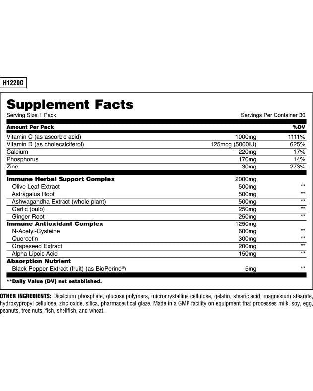 Nutrition Facts For Universal Animal Pak Immune