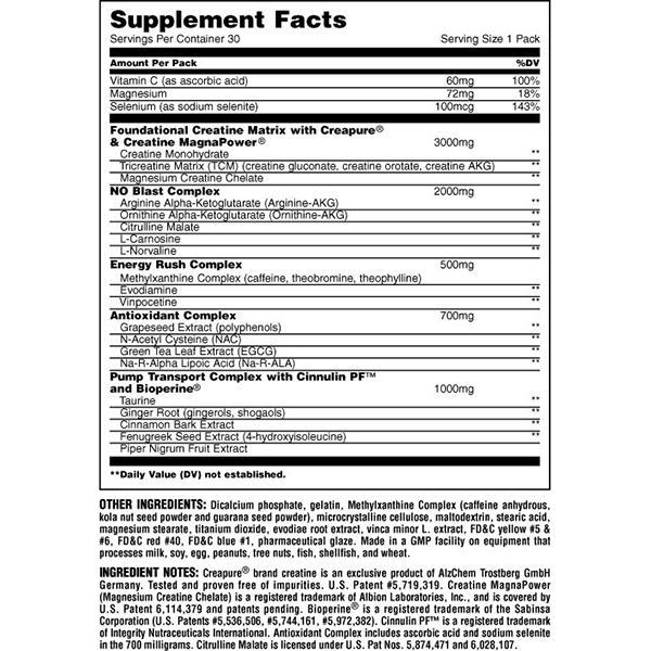 Nutrition Facts For Universal Animal Pump
