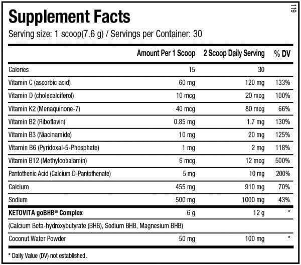 Nutrition Facts For ANS Performance KETOVITA 30 Serve