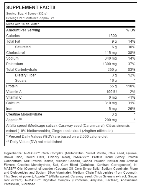 Nutrition Facts For ANS Performance N-Mass Gainer 6lb