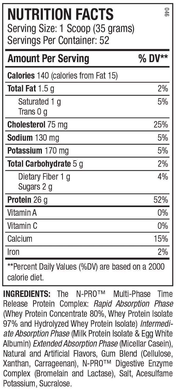 Nutrition Facts For ANS Performance N-Pro Protein 1.8kg