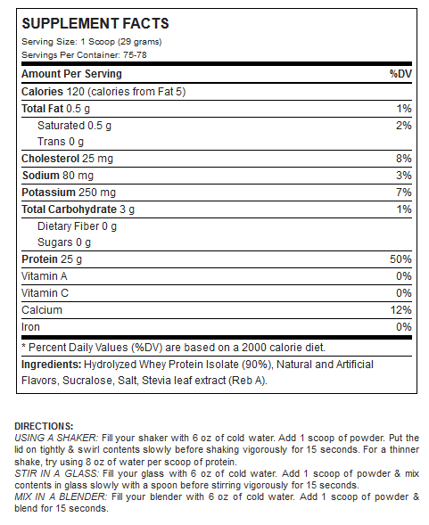 Nutrition Facts For ANS PerformanceN-ISO 5lb