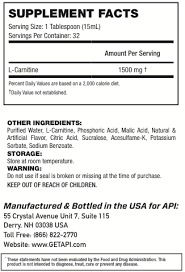 Nutrition Facts For API Carnitine 60 Caps