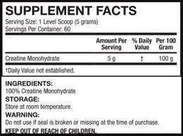Nutrition Facts For API Creatine 300g