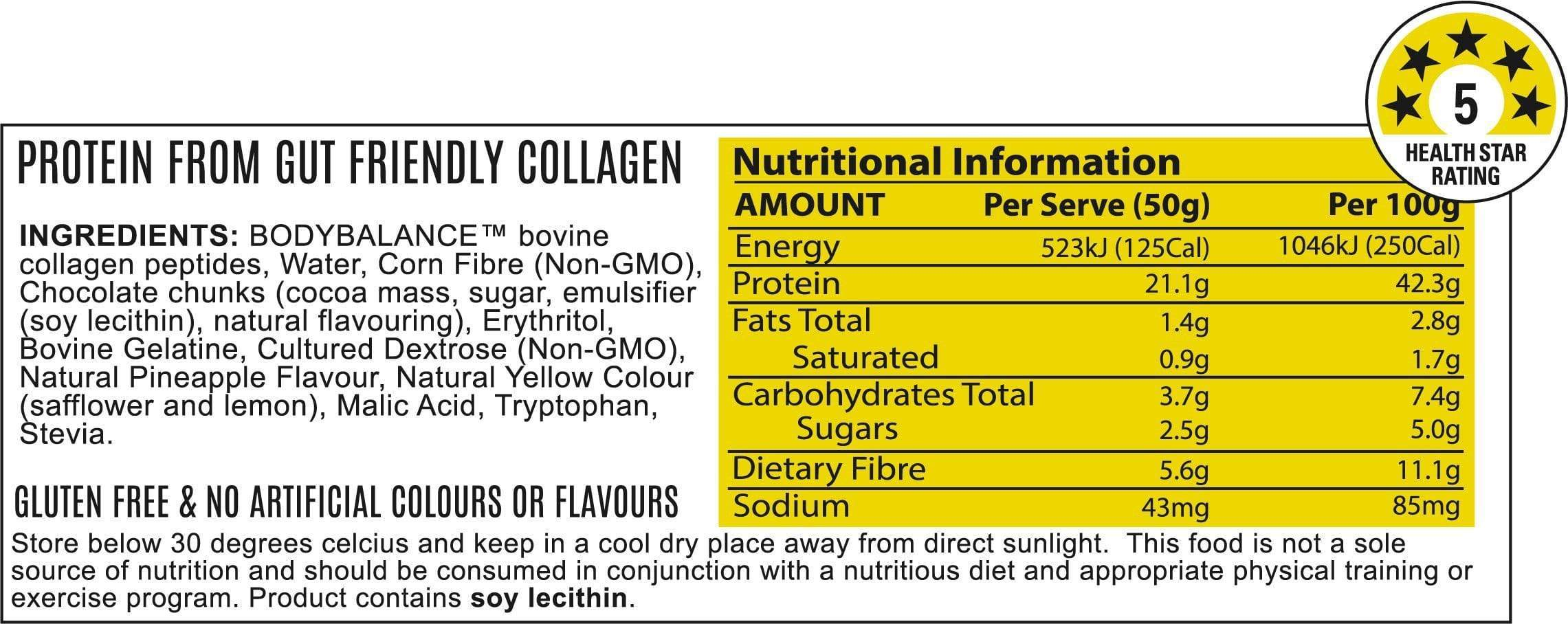 Nutrition Facts For ATP Noway Mallow Protein Bar 6 pack