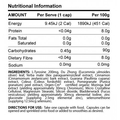 Nutrition Facts For ATP T432 Plus 120 Caps
