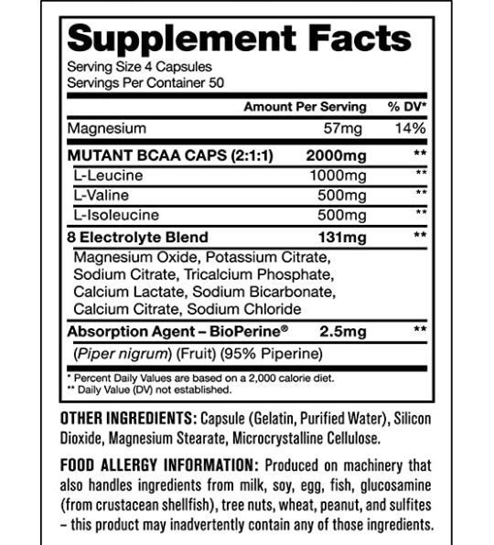 Nutrition Facts For Mutant BCAA 200 Capsules