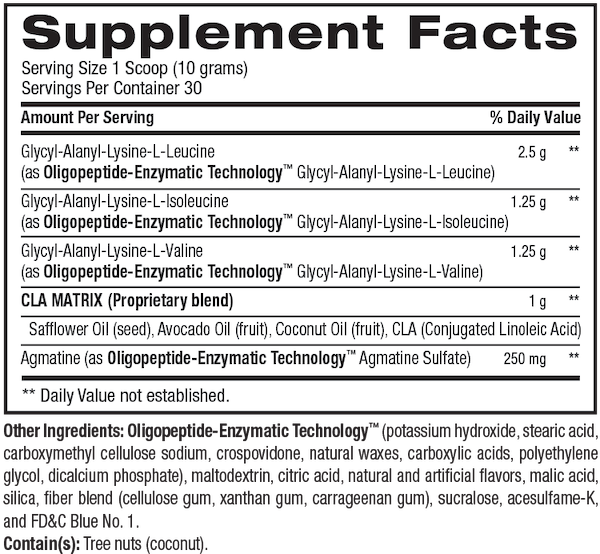 Nutrition Facts For BPI Best BCAA 30 Serve