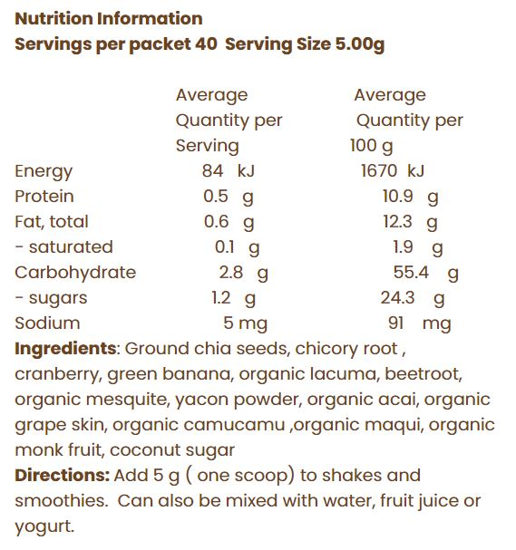 Nutrition Facts For Nothing Naughty Bounce Superfood Smoothie Powder 200g