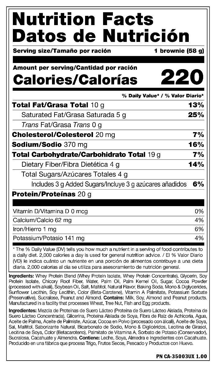 Nutrition Facts For Mutant Protein Brownie Box of 12