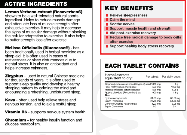 Nutrition Facts For BSC Hydroxyburn Sleep Rx