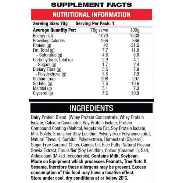 Nutrition Facts For BSC High Protein Balls 10 Box