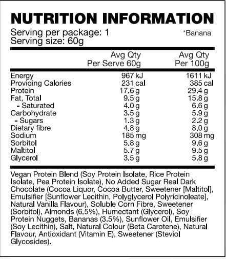 Nutrition Facts For BSC Vegan Protein Balls 10 Box