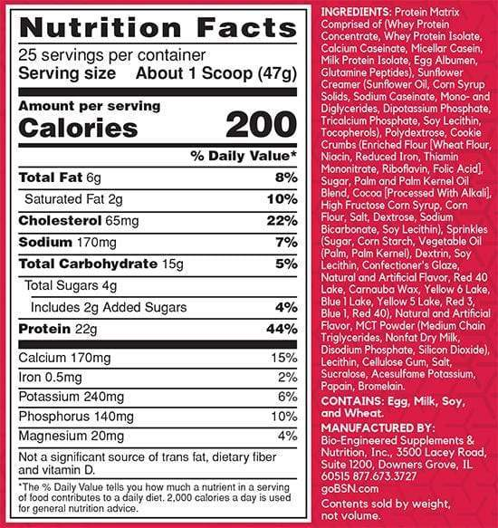 Nutrition Facts For BSN Syntha-6 Coldstone Creamery 1.17kg