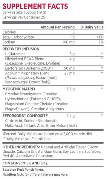 Nutrition Facts For BSN Rebuild Edge 25 Serve
