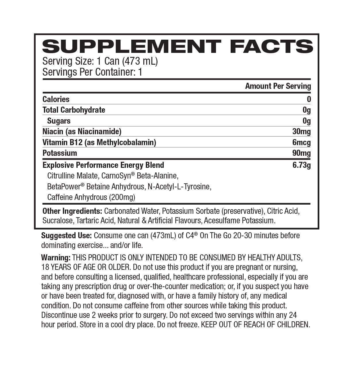 Nutrition Facts For C4 Carbonated RTD - 12 Pack