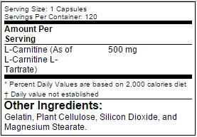 Nutrition Facts For RSP Nutrition Carnitine 60 Caps