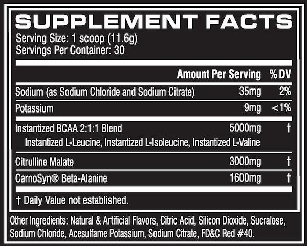 Nutrition Facts For Cellucor Beta BCAA 30 Serves
