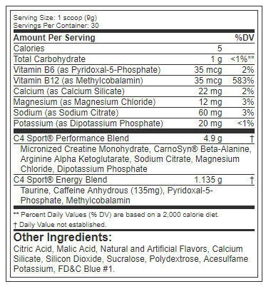 Nutrition Facts For Cellucor C4 Sport Pre Workout 30 Serve