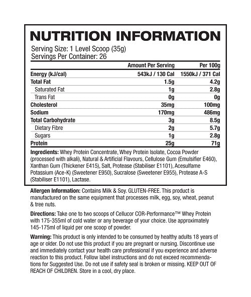 Nutrition Facts For Cellucor COR Whey Protein 1.8kg