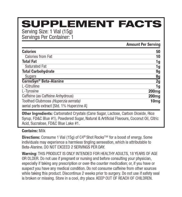 Nutrition Facts For Cellucor Shot Rocks 12 Box