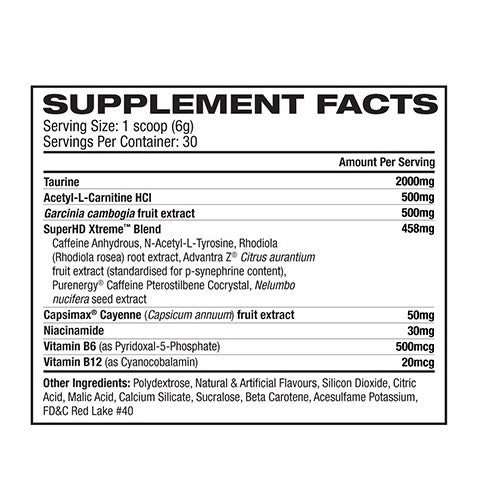 Nutrition Facts For Cellucor Super HD Xtreme Fat Burner