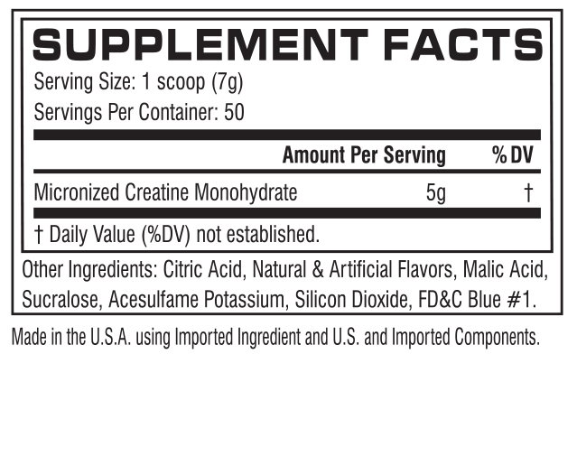 Nutrition Facts For Cellucor Creatine