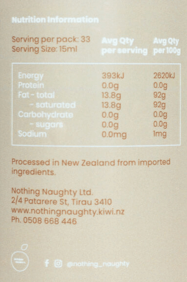Nutrition Facts For Nothing Naughty MCT Oil Pure Coconut 500ml