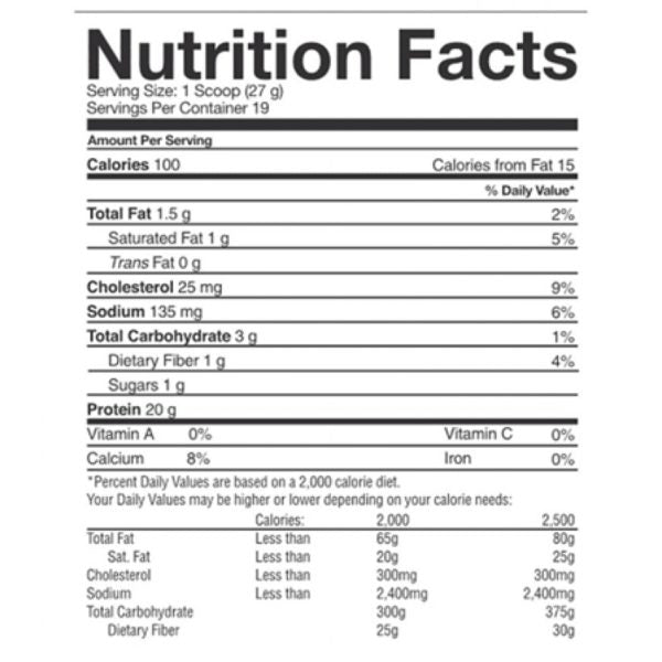 Nutrition Facts For Faction Labs Core9 EAA
