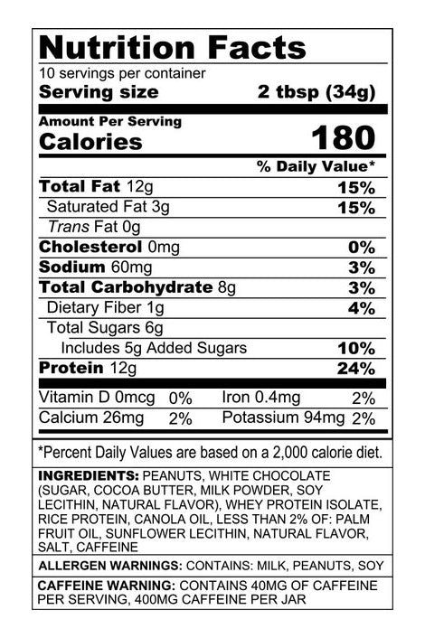 Nutrition Facts For Sinister Labs Angry Mills Peanut Spread