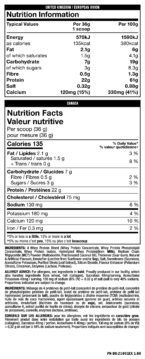 Nutrition Facts For Mutant Whey New & Improved 5lb
