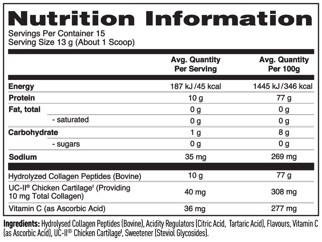 Nutrition Facts For Nature's Best Collagen Powder