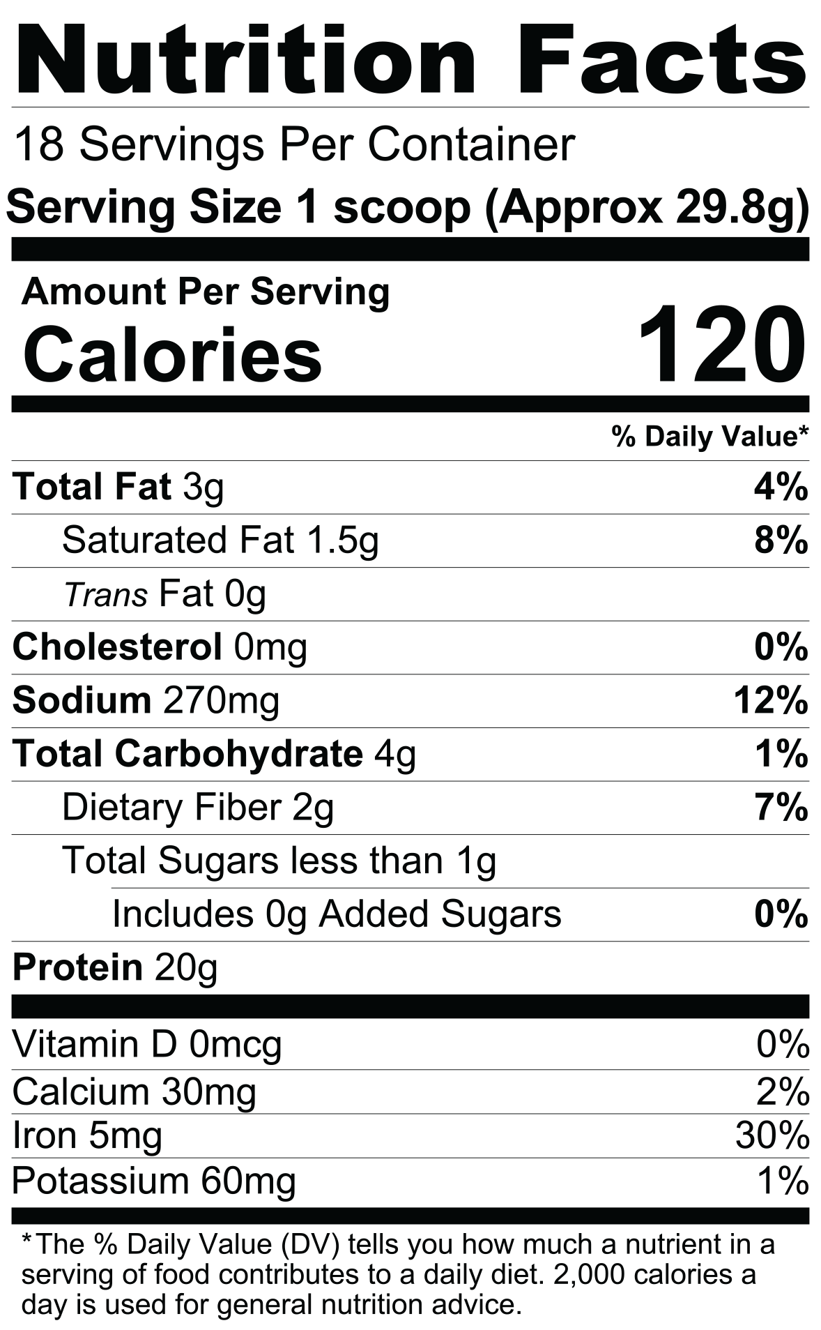 Nutrition Facts For Nutrex Plant Protein