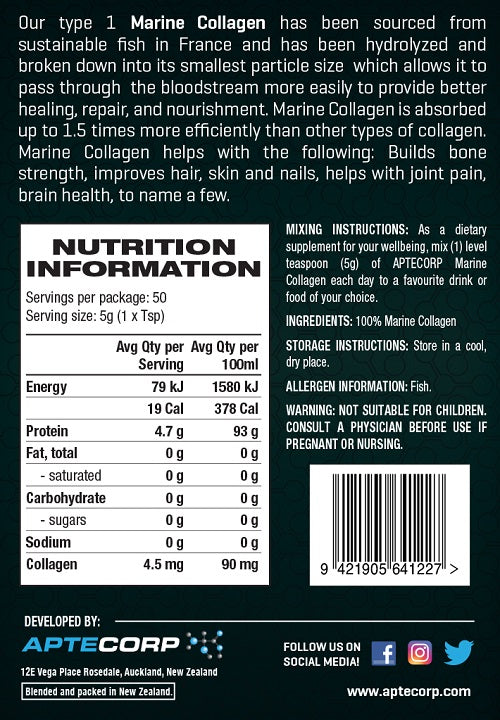 Nutrition Facts For Aptecorp Marine Collagen 250g