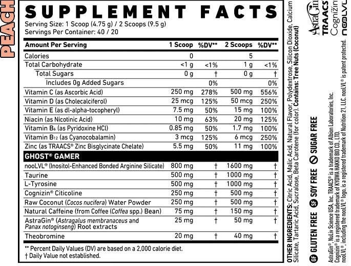 Nutrition Facts For Ghost Lifestyle Gamer Nootropics & Natural Energy Booster