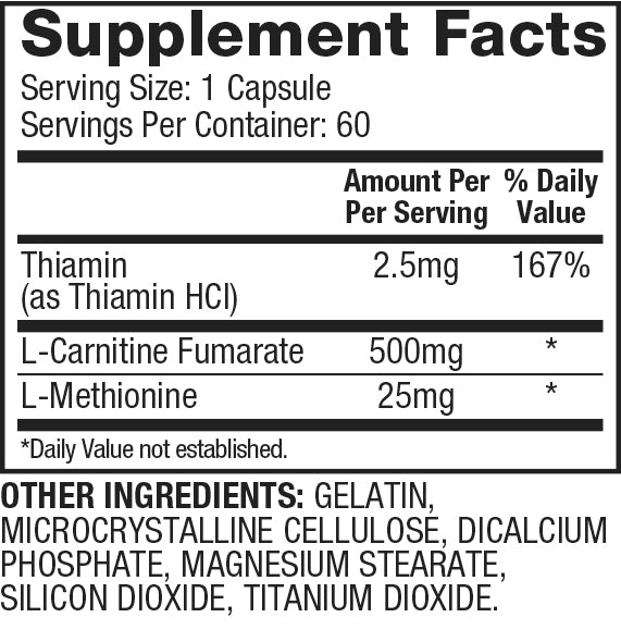 Nutrition Facts For Dymatize Carnitine Xtreme 60 caps