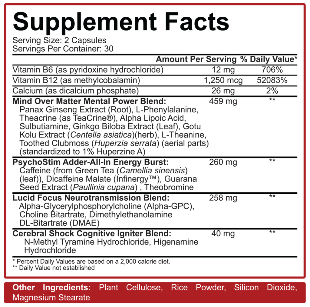 Nutrition Facts For 5% Nutrition Mentality Nootropic Blend