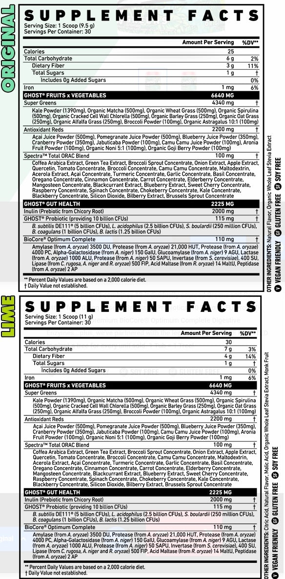 Nutrition Facts For Ghost Lifestyle Ghost Greens Superfoods Formula