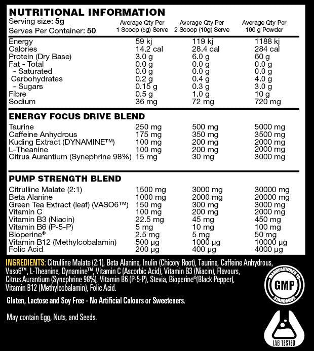 Nutrition Facts For Switch Nutrition Power Switch 50 serve