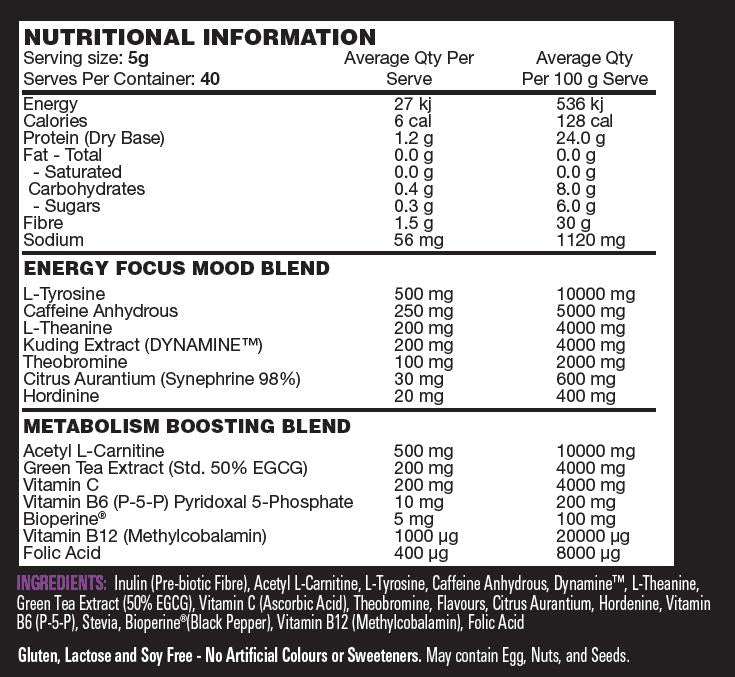 Nutrition Facts For Switch Nutrition Thermal Switch 40 Serve
