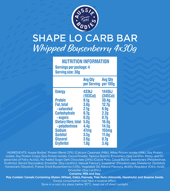 Nutrition Facts For Aussie Bodies Shape Lo Carb Whipped Bars