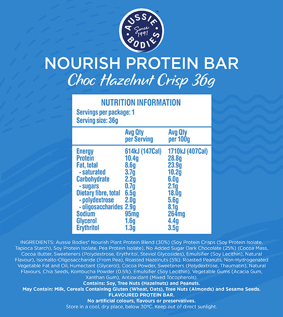 Nutrition Facts For Aussie Bodies Nourish Protein Bars 12 Box