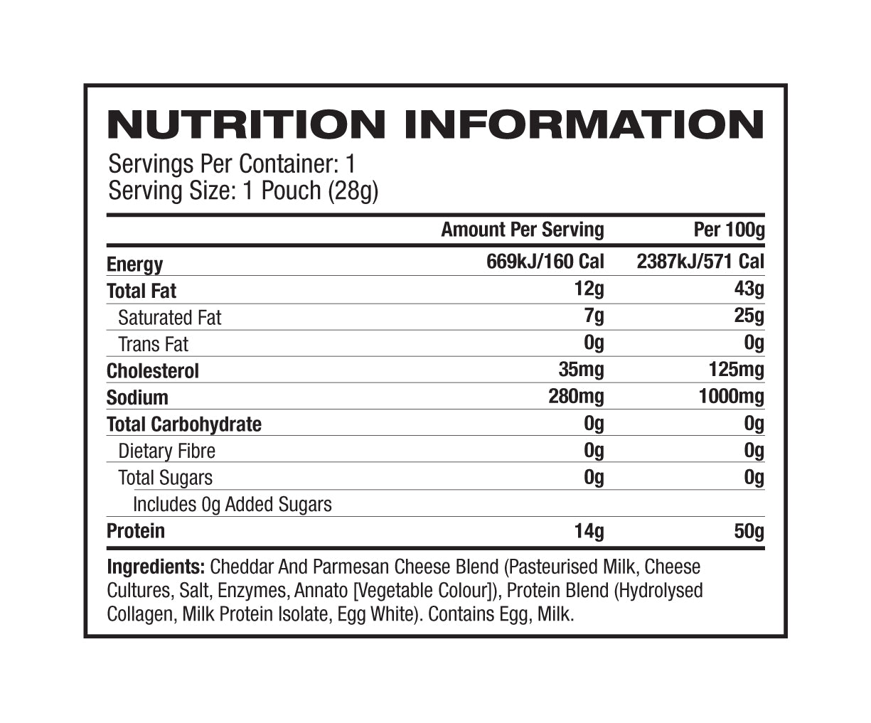 Nutrition Facts For MusclePharm Protein Crisps 12 Box