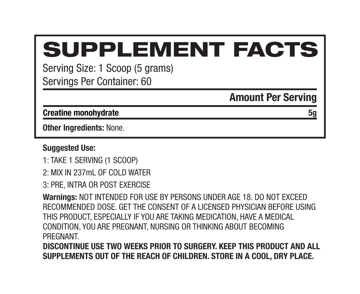 Nutrition Facts For BPI Micronized Creatine 60 Serves