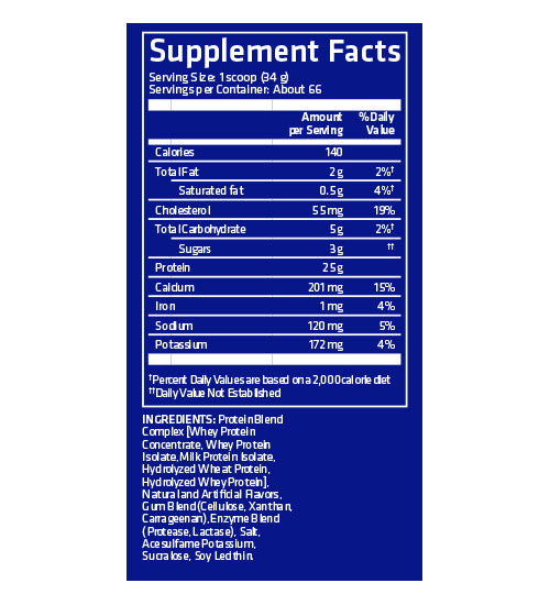 Nutrition Facts For USN 100% Premium Whey Protein+