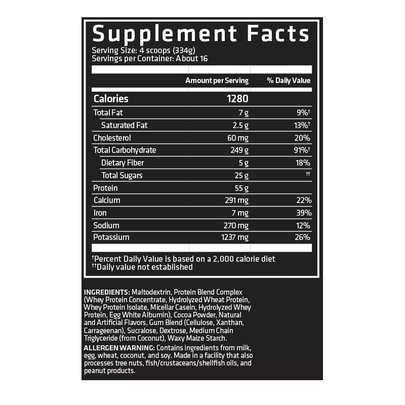 Nutrition Facts For USN Anabolic Mass