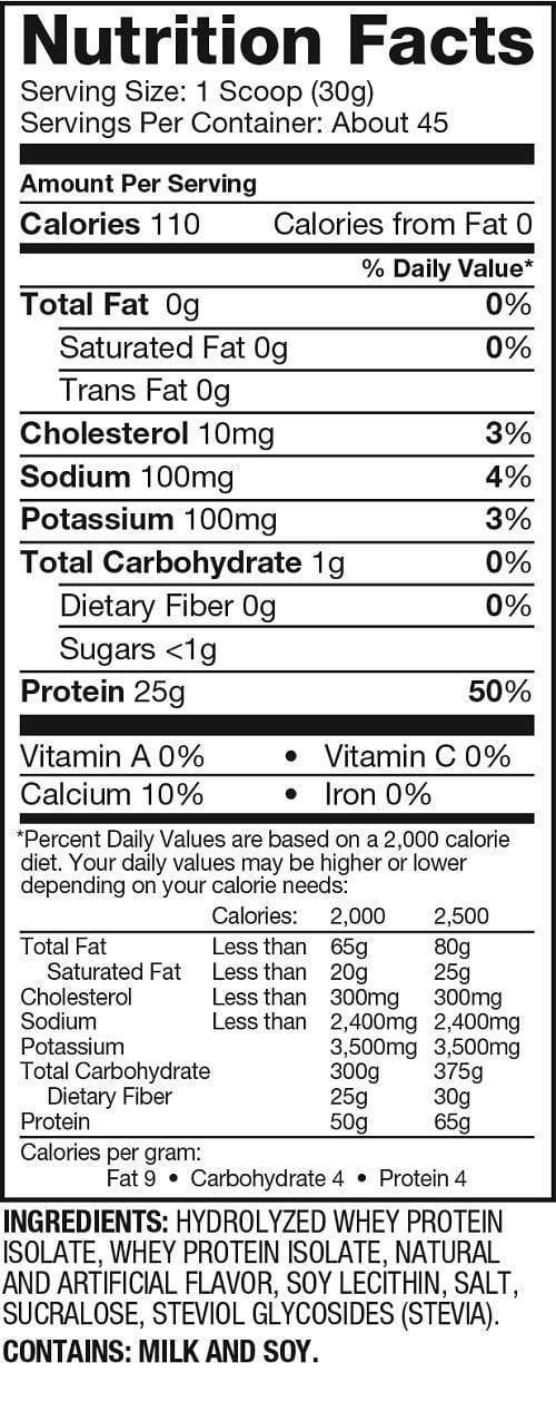 Nutrition Facts For Dymatize ISO 100 Isolate Protein 3lb