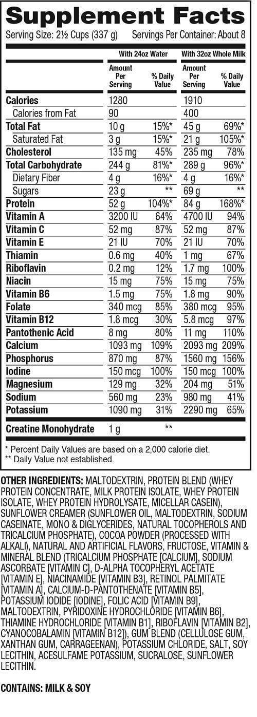 Nutrition Facts For Dymatize Super Mass Gainer 12lb