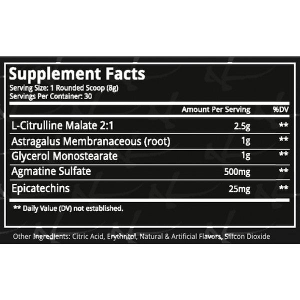 Nutrition Facts For Dynamik Gamma Ray Pre Workout